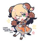 animal_ears bag bear_ears bear_paws bell blonde_hair blush brown_footwear chibi dirndl dress eyebrows_visible_through_hair flower german_clothes gloves green_eyes hair_flower hair_ornament handbag happy_birthday hololive layered_dress momosuzu_nene ninomae_ina'nis_(artist) one_eye_closed orange_dress paw_gloves paws peach_ornament ribbon virtual_youtuber white_legwear