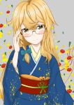 1girl absurdres artist_request bad_anatomy bespectacled blonde_hair blue_bow blue_kimono blush bow braid closed_mouth commentary_request floral_print glasses grey_background hair_between_eyes hair_bow hair_over_shoulder hand_on_eyewear head_tilt highres japanese_clothes kimono kirisame_marisa light_blush long_hair long_sleeves looking_at_viewer red_sash rimless_eyewear sash shiny shiny_hair smile solo touhou upper_body very_long_hair yellow_eyes