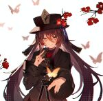 1girl bangs black_coat black_headwear blush breasts brown_hair bug butterfly coat flower genshin_impact hat hat_flower hu_tao insect long_hair long_sleeves looking_at_viewer plum_blossoms red_eyes small_breasts smile soukou_makura symbol-shaped_pupils twintails very_long_hair