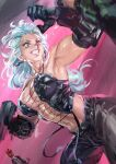 1boy 1girl abs blonde_hair blood blue_eyes breasts chen_yue dorohedoro earrings glasses gloves highres jewelry long_hair mask muscular muscular_female necktie noi_(dorohedoro) open_mouth red_eyes smile white_hair