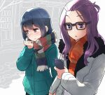 2girls bangs_pinned_back blue_hair blush cellphone coat commentary highres holding_hands kagamihara_sakura long_hair looking_at_phone looking_to_the_side minawa multiple_girls outdoors phone pink_eyes purple_hair road scarf shima_rin smartphone street sweat violet_eyes walking winter_clothes winter_coat yuri yurucamp