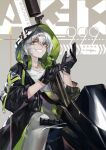 1girl aek-999 aek-999_(girls_frontline) black_gloves black_jacket character_name eyebrows_visible_through_hair girls_frontline gloves ground_vehicle headphones headphones_around_neck highres holding holding_clothes holding_gloves hood hooded_jacket jacket jiji_(pixiv10646874) long_hair looking_at_viewer motor_vehicle motorcycle open_clothes open_jacket pants shirt silver_hair simple_background sitting smile solo weapon white_pants white_shirt yellow_eyes