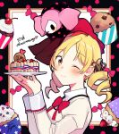 1girl ;) anniversary black_border blonde_hair border cake candy charlotte_(madoka_magica) cherry chocolate_chip closed_mouth commentary_request creature_on_head cupcake dot_nose drill_hair eyebrows_visible_through_hair fingernails flower food fruit fuji_fujino hair_flower hair_ornament hairpin hands_up happy high_collar highres holding holding_plate jewelry juliet_sleeves light_blush long_sleeves looking_at_viewer mahou_shoujo_madoka_magica mitakihara_school_uniform neck_ribbon one_eye_closed plate polka_dot polka_dot_border puffy_sleeves red_ribbon ribbon ring school_uniform shiny shiny_hair signature smile solo sprinkles strawberry tareme tomoe_mami twin_drills uniform whipped_cream witch_(madoka_magica) yellow_eyes