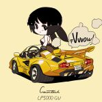 1girl animal_ears black_eyes black_hair breasts car chibi fire from_behind ground_vehicle highres lamborghini lamborghini_countach leotard looking_back medium_breasts motor_vehicle original pantyhose playboy_bunny playboy_bunny_leotard rabbit_ears rikona short_hair smoke solo speech_bubble spoiler_(automobile) white_background