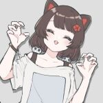 1girl 2015ma14 animal_ears black_tank_top blush brown_hair casual claw_pose closed_eyes collarbone commentary dog_ears facing_viewer fangs flat_chest flower grey_background hair_flower hair_ornament head_tilt inui_toko nijisanji off-shoulder_shirt off_shoulder official_alternate_costume open_mouth romaji_commentary shirt short_hair simple_background smile solo tank_top upper_body virtual_youtuber white_shirt wristband