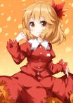 1girl aki_shizuha bangs blonde_hair breasts buttons closed_mouth cowboy_shot eyebrows_visible_through_hair falling_leaves gradient gradient_background hair_ornament highres holding holding_clothes holding_skirt juliet_sleeves leaf leaf_hair_ornament long_sleeves looking_at_viewer orange_background orange_eyes puffy_sleeves red_shirt red_skirt ruu_(tksymkw) shirt short_hair skirt small_breasts smile solo standing touhou