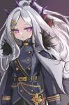 beliatan belt blue_archive gothic_lolita hair_ornament highres loli lolita_fashion long_hair long_sleeves military military_uniform ponytail uniform uniform_vest violet_eyes white_hair