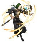 1boy artist_request black_footwear black_jacket black_pants boots fire_emblem fire_emblem:_three_houses fire_emblem_heroes full_body garreg_mach_monastery_uniform green_eyes green_hair highres holding holding_staff jacket linhardt_von_hevring long_hair long_sleeves looking_at_viewer low_ponytail male_focus official_art open_mouth pants ponytail staff transparent_background