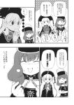 2girls chain chinese_clothes collar cup eating greyscale hat headdress hecatia_lapislazuli highres junko_(touhou) long_hair monochrome multiple_girls planet polos_crown sayakata_katsumi shirt short_hair t-shirt touhou translation_request very_long_hair