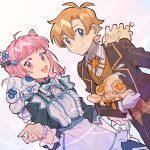 1boy 1girl alcremie alcremie_(berry_sweet) alcremie_(flower_sweet) apron bangs buttons closed_mouth collared_shirt commentary_request eyelashes gen_8_pokemon gloves hair_between_eyes highres holding holding_pokemon jacket light_blush looking_at_viewer milcery on_shoulder open_mouth orange_hair pink_eyes pink_hair pokemon pokemon_(creature) pokemon_on_shoulder rata_(m40929) shirt smile tongue vest white_gloves white_shirt