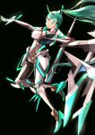 1girl absurdres armor bangs breasts chest_jewel earrings gem gloves green_eyes green_hair hair_ornament headpiece high_heels highres jewelry large_breasts long_hair long_ponytail pneuma_(xenoblade) ponytail risumi_(taka-fallcherryblossom) simple_background smile solo swept_bangs tiara very_long_hair xenoblade_chronicles_(series) xenoblade_chronicles_2