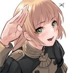 1girl :d artist_name bangs black_jacket blonde_hair blush commentary_request da-cart eyebrows_visible_through_hair fire_emblem fire_emblem:_three_houses fire_emblem_heroes garreg_mach_monastery_uniform green_eyes hand_up highres ingrid_brandl_galatea jacket long_hair long_sleeves looking_at_viewer open_mouth signature simple_background smile solo upper_body white_background