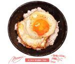 absurdres bowl egg food food_focus garnish highres huge_filesize momiji_mao no_humans original realistic rice signature simple_background still_life sunny_side_up_egg translation_request white_background