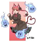 1girl :d animal_ear_fluff animal_ears blush braid breasts cat_ears cat_tail dress green_dress highres hitodama kaenbyou_rin multiple_tails natsushiro nekomata open_mouth papyrus_(undertale) paw_pose red_eyes redhead sans skull smile solo tail touhou twin_braids twintails two_tails undertale