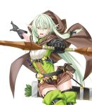 1girl arrow_(projectile) bangs bare_arms black_gloves bow bow_(weapon) brown_cape brown_shorts cape drawn_bow elf eyebrows_visible_through_hair gloves goblin_slayer! green_eyes green_hair hair_bow hair_ornament high_elf_archer_(goblin_slayer!) highres holding holding_bow_(weapon) holding_weapon kannatsuki_noboru knife long_hair non-web_source novel_illustration official_art pointy_ears ponytail quiver shirt shorts simple_background sleeveless sleeveless_shirt solo thigh-highs weapon white_background
