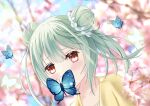1girl absurdres aoe_ui bangs blue_butterfly bug butterfly butterfly_hair_ornament butterfly_on_face cherry_blossoms collarbone double_bun green_hair hair_between_eyes hair_ornament highres hololive insect jacket outdoors red_eyes short_hair solo tree uruha_rushia virtual_youtuber yellow_jacket
