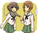 2girls akiyama_yukari girls_und_panzer japanese_text monsieur nishizumi_miho ooarai_school_uniform sailor_collar scarf scarf_pull simple_background