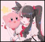 1girl :d bangs black_border black_bow black_hair blush blush_stickers border bow bowtie breasts commentary_request gloves hair_ornament hair_ribbon hand_up heart highres kirby kirby_(series) letterboxed lolowv long_hair looking_at_viewer multicolored_hair nijisanji open_mouth pink_hair puffy_short_sleeves puffy_sleeves red_bow red_eyes redhead ribbon short_sleeves smile streaked_hair striped twintails two-tone_hair upper_body virtual_youtuber white_gloves yorumi_rena