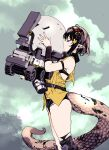 1girl arknights bare_shoulders blush brown_hair closed_eyes clouds cloudy_sky commentary eunectes_(arknights) flower from_side goggles goggles_on_head hair_flower hair_ornament highres holding kiss lancet-2_(arknights) nobita pointy_ears robot short_hair sky snake_tail tail torn_clothes wheel