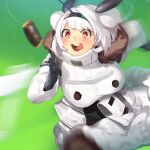 1girl :3 bangs black_gloves black_legwear blurry breasts candy candy_bar coat eyebrows_visible_through_hair food fur_coat gloves highres huge_breasts jam_(nandade) last_origin open_mouth parody pouch running saliva solo t-13_alvis tongue umamusume white_coat white_hair
