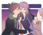 1boy 1girl ahoge black_jacket black_ribbon blush bouquet braid brown_hair cheek_kiss closed_eyes collared_shirt commentary_request dangan79 danganronpa:_trigger_happy_havoc danganronpa_(series) flower gloves green_hoodie hair_ribbon hetero highres holding hood hoodie jacket kirigiri_kyouko kiss long_hair long_sleeves looking_at_another naegi_makoto necktie open_mouth orange_neckwear pink_eyes pink_flower purple_gloves purple_hair purple_jacket ribbon shirt short_hair side_braid skirt sparkle upper_body violet_eyes