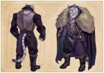 1boy absurdres armor beard belt black_footwear boots braid cape clenched_hand colored_sclera facial_hair fur_trim furry gauntlets highres magna13 male_focus multiple_views pixiv_fantasia_mountain_of_heaven robert_vederkov sheath sheathed simple_background standing tail yellow_sclera