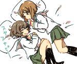 2girls akiyama_yukari black_socks closed_eyes girls_und_panzer japanese_text loafers monsieur nishizumi_miho on_bed ooarai_school_uniform sailor_collar simple_background skirt