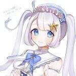 1girl ahoge axel-v blue_eyes bow hairband hassan_(sink916) highres mizukura_canal silver_hair smile starfish twintails upper_body virtual_youtuber