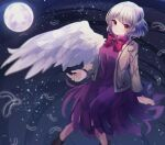 1girl angel_wings arm_support bangs beige_jacket blurry bow bowtie braid breasts brooch closed_mouth dark_background depth_of_field dress expressionless eyebrows_visible_through_hair falling_feathers feet_out_of_frame french_braid full_moon highres jacket jewelry kishin_sagume light_particles long_sleeves looking_at_viewer medium_breasts moon moshihimechan open_clothes open_jacket purple_dress red_bow red_eyes red_neckwear short_hair silver_hair single_wing sitting solo touhou wings