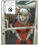 1girl against_door against_glass antennae black_sclera brick_wall ceiling_light colored_sclera commentary door door_handle elpinchishen english_commentary english_text extra_arms fur_collar glass_door insect_girl meme monster_girl moth_girl moth_wings orange_pants orange_shirt original parody prison_cell prison_clothes sad shirt short_hair sign solo tearing_up triangle_mouth white_hair wings yellow_eyes