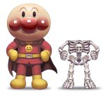 1boy anpanman anpanman_(character) cape closed_mouth gloves hands_on_hips highres looking_at_viewer pants parody red_cape red_pants red_shirt sakkan shirt simple_background skeleton smile smiley_face white_background yellow_footwear yellow_gloves