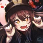 1girl absurdres acrylicstroke black_headwear black_nails brown_hair fang flower-shaped_pupils genshin_impact ghost hands_up highres hu_tao huge_filesize open_mouth portrait red_eyes solo teeth