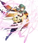1girl bangs black_footwear boots breasts bridal_gauntlets brown_eyes butterfly_wings cape denim denim_shorts dress elincia_ridell_crimea fire_emblem fire_emblem:_path_of_radiance fire_emblem:_radiant_dawn fire_emblem_heroes full_body glowing glowing_weapon gradient gradient_clothes green_hair hair_ornament highres holding holding_sword holding_weapon looking_away medium_breasts official_alternate_costume official_art open_mouth shiny shiny_hair short_dress shorts solo standing sword thigh-highs thigh_boots thighs thorns tiara weapon wings