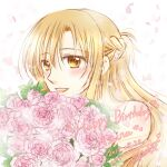 1girl 2019 :d asuna_(sao) bangs blonde_hair bouquet braid brown_eyes character_name dated eyebrows_visible_through_hair floating_hair flower french_braid hair_between_eyes happy_birthday holding holding_bouquet kanaoto_neiro long_hair open_mouth petals pink_flower pink_rose rose shiny shiny_hair shiny_skin signature smile solo sword_art_online upper_body white_background