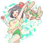 1girl beanie black_hair chorimokki gen_7_pokemon green_shorts hat looking_at_viewer medium_hair pokemon pokemon_(game) pokemon_sm red_headwear rowlet selene_(pokemon) shirt shorts solo