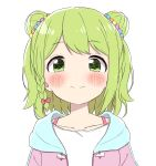 1girl absurdres bangs blush bow braid closed_mouth collarbone double_bun drawstring eyebrows_visible_through_hair green_eyes green_hair hair_bow highres jacket looking_at_viewer morinaka_kazaki nijisanji open_clothes open_jacket pink_bow pink_jacket shirt side_braid simple_background single_braid smile solo upper_body virtual_youtuber white_background white_shirt yotsugi