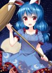 1girl animal_ears bangs blue_dress blue_hair breasts cowboy_shot crescent_print dress ear_clip eyebrows_visible_through_hair full_moon highres holding holding_mallet kine long_hair looking_at_viewer low_twintails mallet medium_breasts moon night open_mouth rabbit_ears red_eyes ruu_(tksymkw) seiran_(touhou) short_sleeves sky smile solo standing star_(sky) star_(symbol) star_print starry_sky touhou twintails yellow_moon