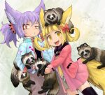 2girls :d animal animal_ears animal_on_head bangs black_legwear black_shirt blonde_hair blue_jacket blunt_bangs bow curly_hair dog_child_(doitsuken) doitsuken fang fox_child_(doitsuken) fox_ears fox_tail gloves grey_pants grey_shorts hair_bow holding holding_animal jacket looking_at_viewer multiple_girls o3o on_head open_mouth original pants pink_skirt ponytail purple_hair red_bow red_eyes red_gloves red_jacket shirt shorts skirt slit_pupils smile spikes standing tail tanuki thigh-highs yellow_shirt