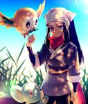 1girl akihorisu black_hair blue_eyes blurry clenched_hand clenched_teeth commentary_request day eyelashes female_protagonist_(pokemon_legends:_arceus) gen_4_pokemon gen_7_pokemon grass hair_scarf hand_up highres lens_flare long_hair looking_at_viewer outdoors pokemon pokemon_(creature) pokemon_(game) pokemon_legends:_arceus ponytail red_scarf rowlet sash scarf shinx sidelocks smile starter_pokemon teeth