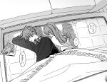 1boy 1girl antenna_hair couch eyebrows_visible_through_hair eyes_visible_through_hair greyscale hatching_(texture) highres indoors long_hair lying monochrome on_floor on_side open_mouth original ryou6631 shadow speech_bubble translation_request