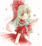 1girl bangs bow commentary_request dated dress flower frilled_bow frilled_ribbon frilled_sleeves frills front_ponytail green_eyes green_hair hair_bow hair_ribbon hand_up highres kagiyama_hina long_hair looking_at_viewer looking_to_the_side nig_18 petals pink_flower puffy_short_sleeves puffy_sleeves red_bow red_dress red_ribbon ribbon short_sleeves solo touhou upper_body