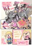 callie_(splatoon) car crown double_v english_text fangs ground_vehicle highres inkling logo_parody mad_max mad_max:_fury_road motor_vehicle open_mouth parody pearl_(splatoon) pink_hair pointy_ears salmonid sarashi smallfry_(splatoon) smile speech_bubble splatoon_(series) splatoon_1 splatoon_2 splatoon_3 tank_top tentacle_hair v wong_ying_chee yellow_eyes
