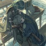 1boy 1girl bench black_legwear blue_cape brown_cape byleth_(fire_emblem) byleth_(fire_emblem)_(female) cape closed_eyes couple dimitri_alexandre_blaiddyd fire_emblem fire_emblem:_three_houses green_hair hand_in_another's_hair harusame_(rueken) hetero indoors long_hair pantyhose shiny shiny_hair sitting sitting_on_table