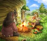 2boys beard blonde_hair blue_eyes campfire cliff daphnes_nohansen_hyrule facial_hair fish food grass hood link log looking_at_another meat multiple_boys mushroom open_mouth pine_tree pointy_ears sayoyonsayoyo sheikah_slate smile the_legend_of_zelda the_legend_of_zelda:_breath_of_the_wild tree white_hair