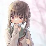 1girl bangs blurry blurry_background blush brown_eyes brown_hair brown_sweater commentary_request depth_of_field eyebrows_visible_through_hair fang green_sailor_collar hands_up holding_strap long_sleeves looking_at_viewer mask mask_pull midorikawa_you mouth_mask neckerchief open_mouth original pulled_by_self red_neckwear sailor_collar school_uniform serafuku sleeves_past_wrists solo surgical_mask sweater