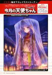 1girl absurdres alternate_costume angel_beats! floral_print goto_p hat highres house japanese_clothes kimono long_hair looking_at_viewer night outdoors pink_kimono silver_hair snow solo tenshi_(angel_beats!) translation_request yellow_eyes