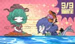 3girls afterimage bangs blue_eyes blue_hair blunt_bangs bowl bowl_hat breasts checkered checkered_background closed_eyes commentary_request dated dress frilled_ribbon frills front_ponytail green_hair green_kimono hair_ribbon hat hinamatsuri japanese_clothes kagiyama_hina kimono long_hair medium_breasts mermaid minigirl monster_girl multiple_girls nagashi-bina open_mouth pink_background pink_hair red_dress red_kimono red_ribbon ribbon river short_hair short_sleeves smile sparkle spinning star_(symbol) star_print sukuna_shinmyoumaru sweatdrop swimming touhou wakasagihime wide_sleeves yt_(wai-tei)