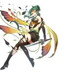 1girl ass bangs black_footwear boots breasts brown_eyes butterfly_wings cape denim denim_shorts dress elincia_ridell_crimea fire_emblem fire_emblem:_path_of_radiance fire_emblem:_radiant_dawn fire_emblem_heroes full_body gradient gradient_clothes green_hair hair_ornament highres holding holding_sword holding_weapon looking_away medium_breasts official_alternate_costume official_art open_mouth shiny shiny_hair short_dress shorts solo standing sword thigh-highs thigh_boots thighs thorns tiara torn_clothes weapon wings