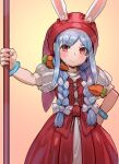 1girl animal_ears blue_hair blush bow bow_(bhp) braid closed_mouth cosplay dragon_quest dragon_quest_xi dress ears_through_headwear hair_bow hand_on_hip head_scarf holding holding_staff looking_at_viewer multicolored_hair orange_eyes puffy_short_sleeves puffy_sleeves rabbit_ears red_dress short_sleeves smile solo staff twin_braids two-tone_hair usada_pekora veronica_(dq11) veronica_(dq11)_(cosplay) white_bow white_hair wristband