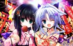 2girls ;d aerial_fireworks black_hair blue_eyes blue_hair candy_apple cheek_poking eating fang festival fireworks flower green_eyes hair_flower hair_ornament highres japanese_clothes kimono lantern long_hair looking_at_viewer multiple_girls open_mouth original poking ribbon short_hair smile tenmu_shinryuusai torii wink